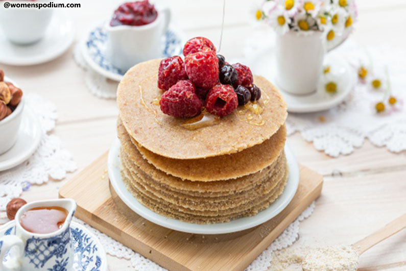 Breakfast Ideas for Teens - Millet Pancakes with Drizzled Honey
