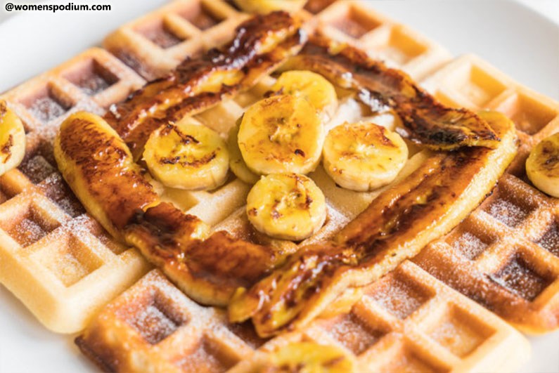 Banana Waffles with Peanut Butter