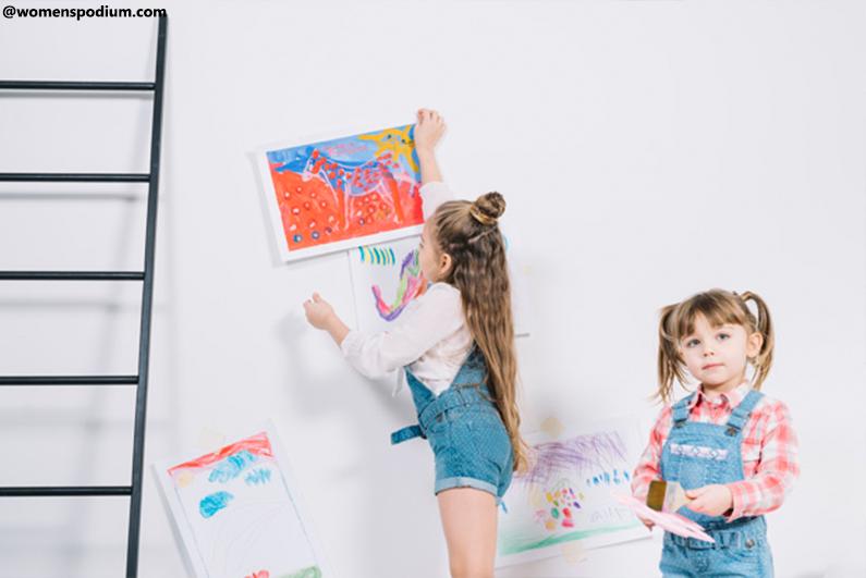 Kids' Drawings Made Into Art Wall