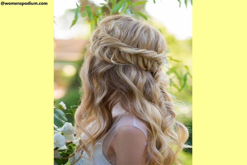 Horizontal Braided Crown Half Updo