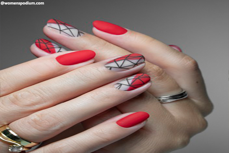 Segmented Geometric Nail Art