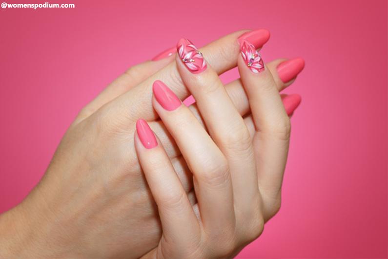 Floral Nail Designs Using Brush