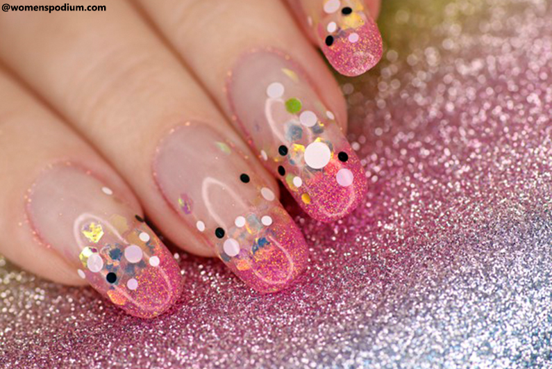 Airbrush Nail Designs With Sequins