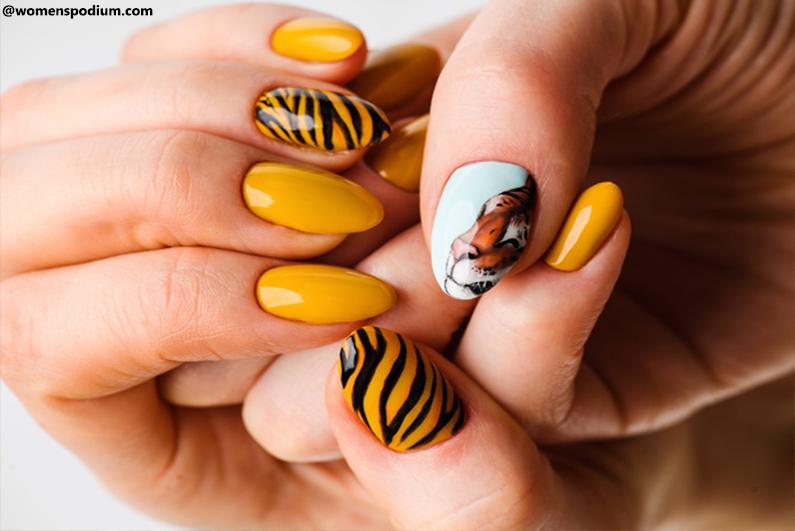 Bright Yellow Tiger Nail Art