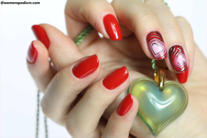 Stripped Valentine's Day Nails